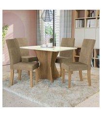 mesa com 4 cadeiras p/ sala de jantar figueira kappesberg d005 freijó/off