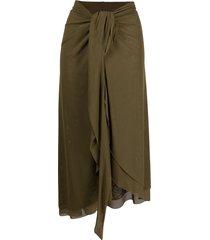 fisico mesh sarong skirt - green