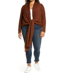 plus size women's loveappella tie front cardigan, size 3x - brown