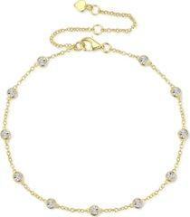 diamond bezel chain bracelet (1/10 ct. t.w.) in sterling silver, 14k gold-plated sterling silver or 14k rose gold-plated sterling silver