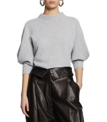 women's proenza schouler leg of mutton sleeve cashmere sweater, size x-large - grey