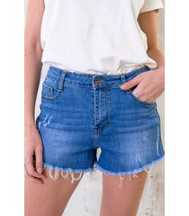 denim damaged shorts