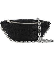 alexander wang tweed crescent shoulder bag - black
