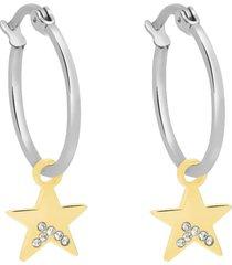 orecchini a cerchio con charm stella in acciaio bicolore e strass per donna