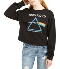 love tribe juniors' pink floyd cropped graphic sweatshirt