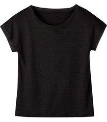 linnen-jersey shirt met korte mouw en ronde hals, zwart 40/42