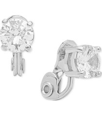 anne klein crystal solitaire e-z comfort clip-on earrings