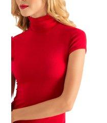 camiseta cuello tortuga manga corta rojo ragged pf14120008