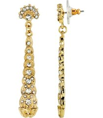 downton abbey gold-tone crystal linear post drop earrings