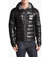 men's canada goose 'hybridge(tm) lite hoody' slim fit packable jacket, size small - black