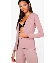 collarless blazer, mauve