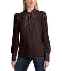 women's long sleeve tie neck blouse
