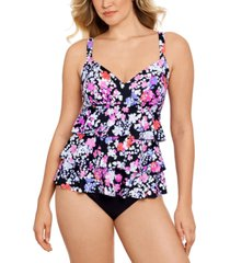swim solutions dancing queen triple-tier fauxkini one-piece swimsuit, created for macy's women's swimsuit