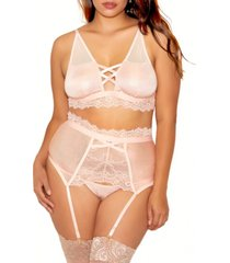 clair plus size elegant floral lace bralette, garter and panty set, 3 piece
