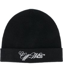 off-white embr logo wool beanie hat