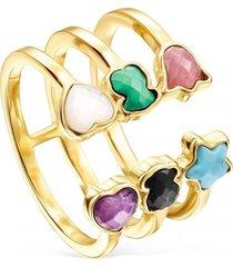 anillo abierto glory de plata vermeil con gemas tous