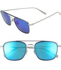 maui jim following seas 53mm polarized square sunglasses in silver matte/navy at nordstrom