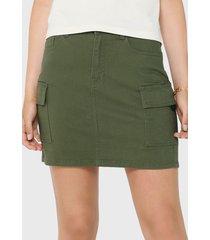 falda jacqueline de yong verde - calce ajustado