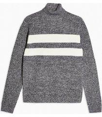 mens grey twist block roll neck sweater