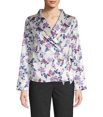 floral pajama wrap top