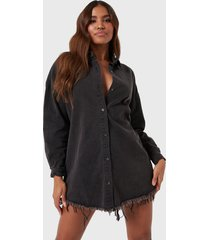 vestido missguided oversized denim shirt dress negro - calce oversize
