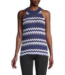stripe open stitch halter sweater