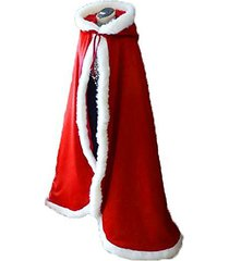 red long wedding cloak with hooded cape winter fur trim and hand muff 55 inches