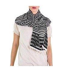 cotton scarf, 'dark roads found' (guatemala)