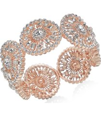 inc rose gold-tone crystal circle stretch bracelet, created for macy's