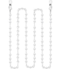 "essentials silver-plated imitation pearl dapped link 25"" glasses or face mask chain"