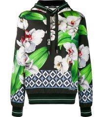 dolce & gabbana floral-print hoodie - black