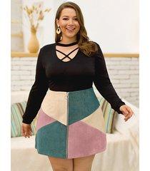 falda de pana de talla grande con diseño de cremallera multicolor