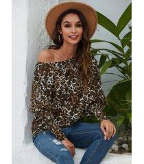 leopard one top de punto de manga larga con hombros descubiertos