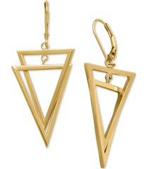interlocking triangle dangling drop earrings in 14k gold, 1 1/4 inches