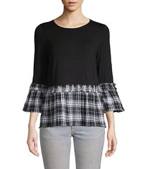 plaid peplum pullover