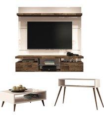 painel tv livin 1.6 com mesa de centro lucy e aparador quad off white/deck - hb móveis