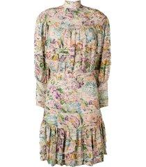 zimmermann horizontal pleats floral dress - neutrals