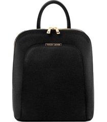 tuscany leather tl141631 tl bag - zaino donna in pelle saffiano nero