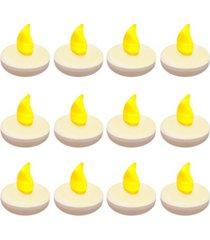 lumabase set of 12 flickering amber floating tealights