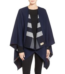 women's burberry reversible merino wool cape, size one size - blue