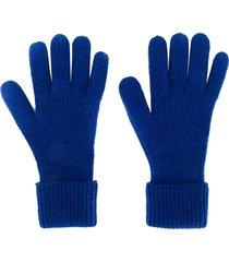 n.peal ribbed gloves - blue