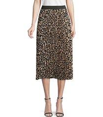leopard-print pleated skirt