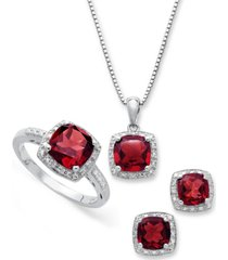 sterling silver jewelry set, garnet (4-3/4 ct. t.w.) and diamond accent necklace, earrings and ring set
