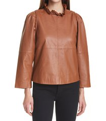 women's sea women's lora ruffle neck leather top, size 10 - brown