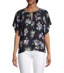 velvet women's floral short sleeve blouse - black - size l
