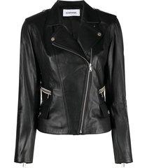 sylvie schimmel glove zip-up biker jacket - black