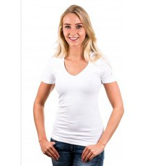garage t-shirt ladies v-neck white ( art 0702)