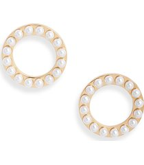 women's knotty imitation pearl structured circle earrings