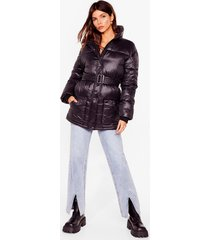 womens singing in the rain padded belted longline jacket - black
