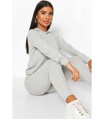 petite gebreide zachte geribbelde hoodie en leggings set, grijs